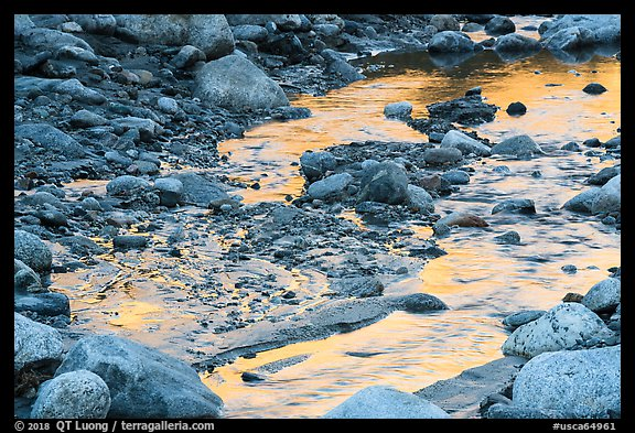Golden reflections in Whitewater River, Whitewater Preserve. Sand to Snow National Monument, California, USA (color)