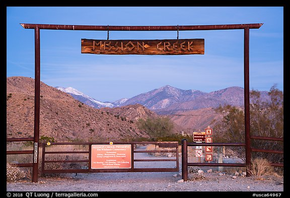 Entrance gate at dawn, Mission Creek Preserve. Sand to Snow National Monument, California, USA (color)