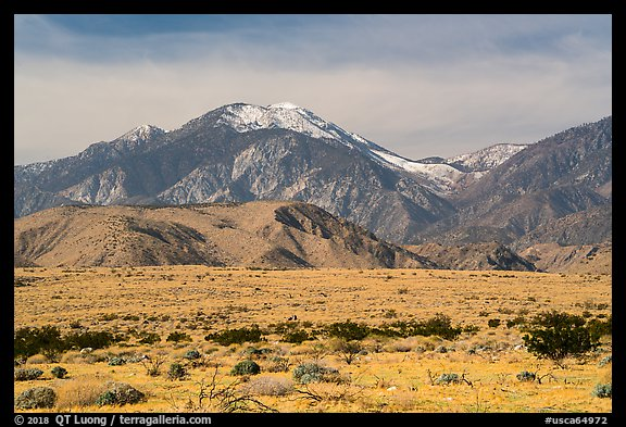 Snow-capped San Gorgonio Mountain. Sand to Snow National Monument, California, USA (color)