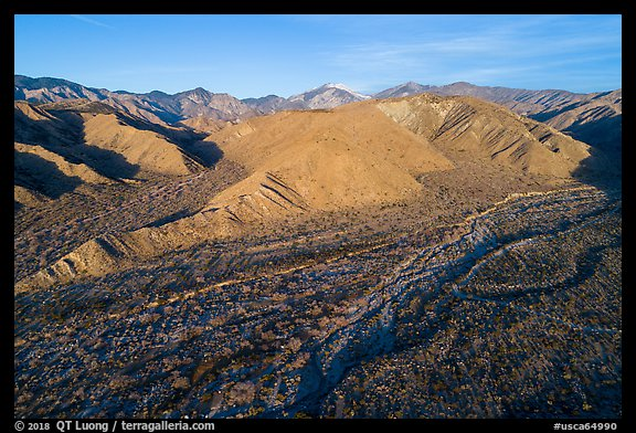 Aerial view of valley with San Gorgonio Mountain in the distance, Mission Creek Preserve. Sand to Snow National Monument, California, USA (color)