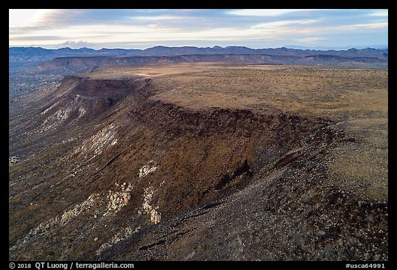 Aerial view of Flat Top Mesa. Sand to Snow National Monument, California, USA (color)