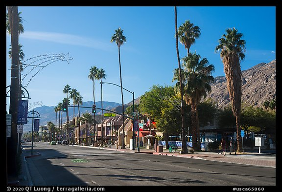 Palm Canyon Drive, main street of Palm Springs. California, USA (color)