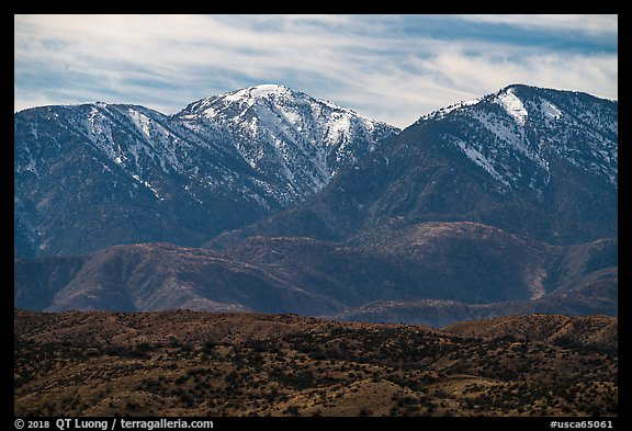 Mount San Antonio and San Gabriel Mountains from Cajon Pass. San Gabriel Mountains National Monument, California, USA (color)