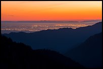 Los Angeles Basin at sunset. San Gabriel Mountains National Monument, California, USA ( color)