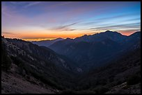 Mountains and distant Los Angeles Basin at sunset. San Gabriel Mountains National Monument, California, USA ( color)