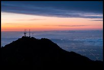 Mount Wilson antennas and Los Angeles with fog at sunrise. San Gabriel Mountains National Monument, California, USA ( color)