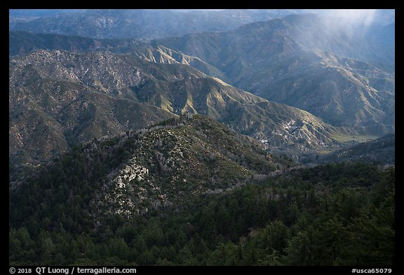 Rolling peaks with spot of light. San Gabriel Mountains National Monument, California, USA (color)