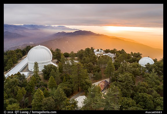 Aerial view of Mount Wilson observatory at sunrise. San Gabriel Mountains National Monument, California, USA (color)