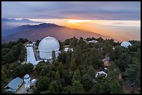 Aerial view of Mount Wilson observatory, mountains, and Los Angeles Basin. San Gabriel Mountains National Monument, California, USA ( color)