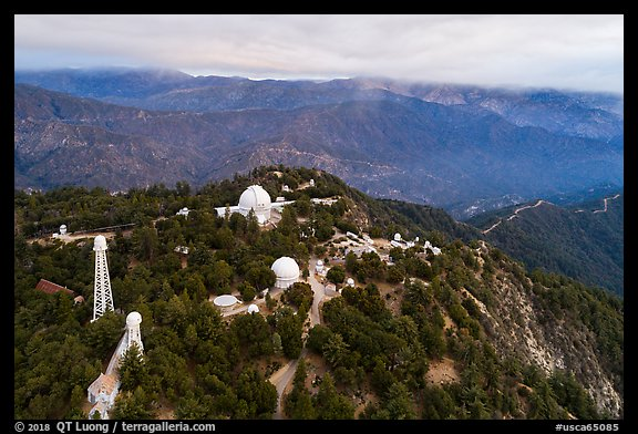 Aerial view of Mount Wilson observatory. San Gabriel Mountains National Monument, California, USA (color)