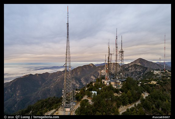 Aerial view of media transmitters on Mount Wilson. San Gabriel Mountains National Monument, California, USA (color)