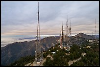 Aerial view of media transmitters on Mount Wilson. San Gabriel Mountains National Monument, California, USA ( color)