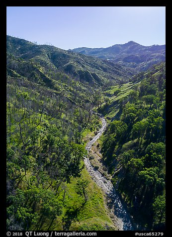 Aerial view of Cache Creek in spring. Berryessa Snow Mountain National Monument, California, USA (color)