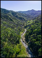 Aerial view of Cache Creek in spring. Berryessa Snow Mountain National Monument, California, USA ( color)