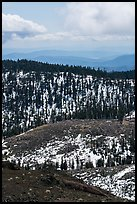 Forested ridges with snow from Snow Mountain. Berryessa Snow Mountain National Monument, California, USA ( color)