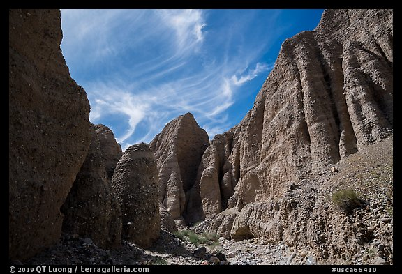 Steep eroded canyon in badlands, Afton Canyon. Mojave Trails National Monument, California, USA (color)
