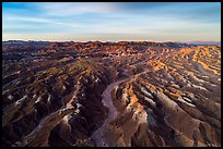 Aerial view of Afton Canyon badlands at sunrise. Mojave Trails National Monument, California, USA ( color)