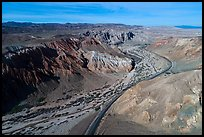 Aerial view of Afton Canyon. Mojave Trails National Monument, California, USA ( color)