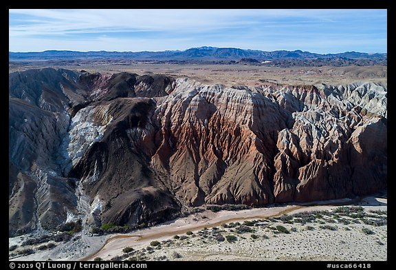 Aerial view of Afton Canyon walls. Mojave Trails National Monument, California, USA (color)
