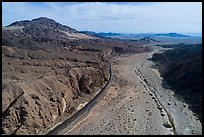 Aerial view of Afton Canyon, railroad, and Mojave River. Mojave Trails National Monument, California, USA ( color)