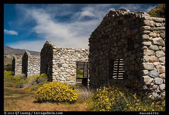 Ruined stone cabins. Sand to Snow National Monument, California, USA (color)