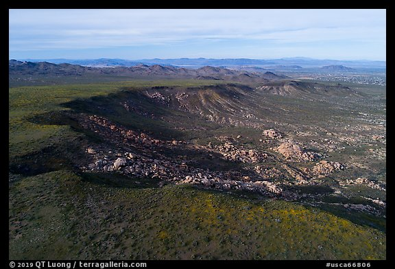 Aerial view of Black Lava Butte and boulders. Sand to Snow National Monument, California, USA (color)