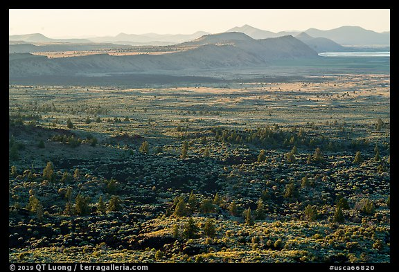 Schonchin Flow and Hardin Butte. Lava Beds National Monument, California, USA (color)