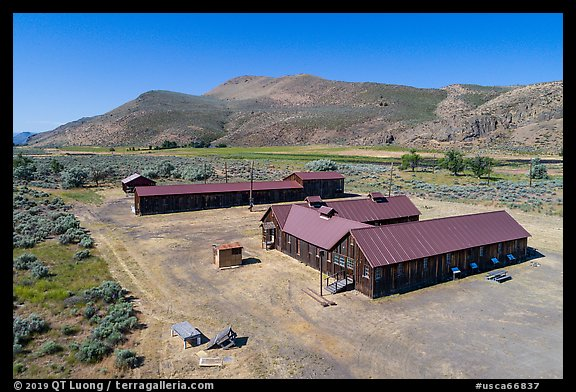 Aerial view of Camp Tulelake, Tule Lake National Monument. California, USA (color)