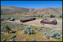 Aerial view of Camp Tulelake former CCC camp which housed Japanese Americans, Tule Lake National Monument. California, USA ( color)