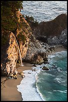 McWay waterfall flowing on beach, Julia Pfeiffer Burns State Park. Big Sur, California, USA ( color)