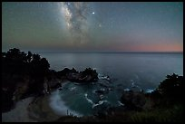 McWay Cove at night with Milky Way, Julia Pfeiffer Burns State Park. Big Sur, California, USA ( color)