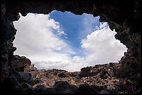Sky from opening of lava tube cave, Pisgah lava field. Mojave Trails National Monument, California, USA ( color)