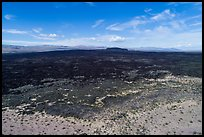 Aerial view of Lavic Lake volcanic field with distant Pisgah Crater. Mojave Trails National Monument, California, USA ( color)