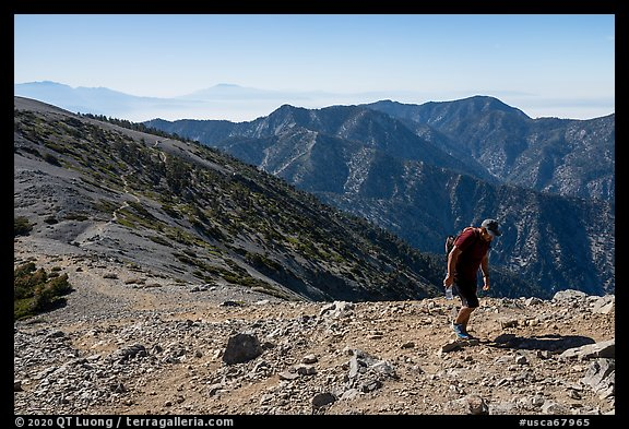 Hiker on Mt Baldy's Devils Backbone. San Gabriel Mountains National Monument, California, USA (color)