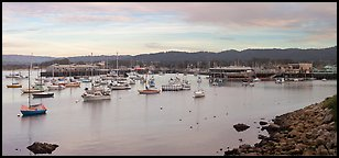 Municipal Wharf and Fishermans Wharf, late afternoon. Monterey, California, USA (Panoramic color)