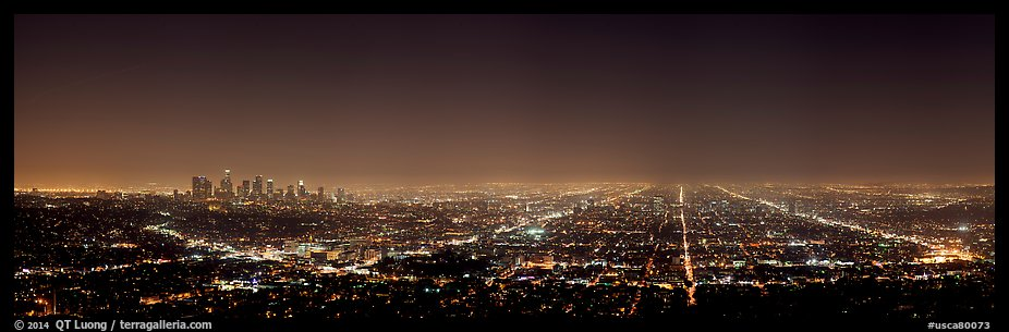 Street grid and city at night. Los Angeles, California, USA (color)