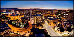 Downtown San Jose skyline and lights at dusk. San Jose, California, USA
