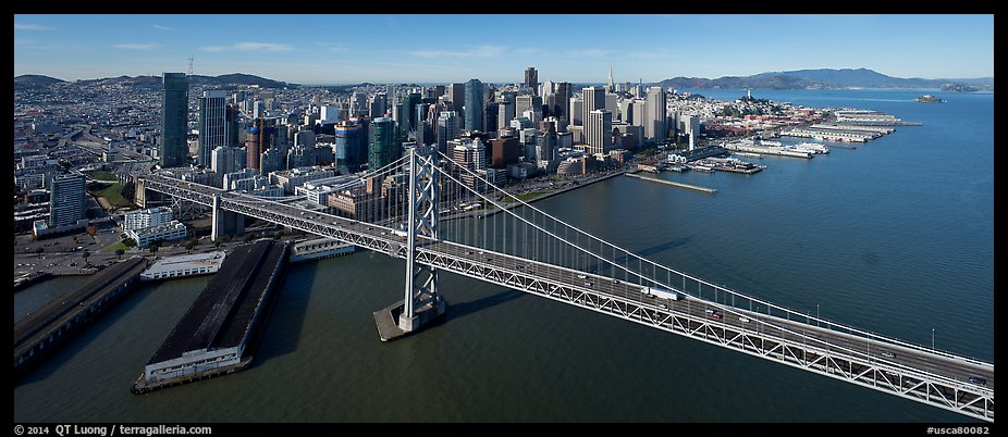 Aerial view of Bay Bridge and downtown skyline. San Francisco, California, USA (color)