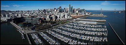 Aerial view of South Beach Harbor, ATT Park, and downtown skyline. San Francisco, California, USA (Panoramic color)