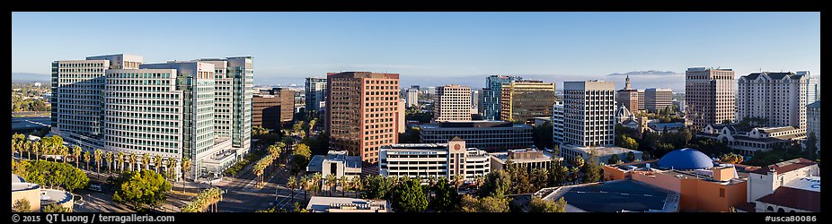 San Jose skyline from Adobe building to Fairmont hotel. San Jose, California, USA (color)