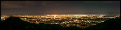 Los Angeles Basin from Mount Wilson at night. Los Angeles, California, USA (Panoramic color)
