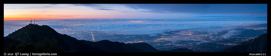 Foggy Los Angeles Basin from Mount Wilson at sunrise. Los Angeles, California, USA (color)
