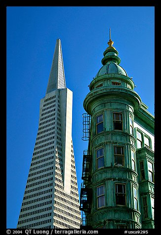 Columbus Tower and Transamerica Pyramid. San Francisco, California, USA (color)