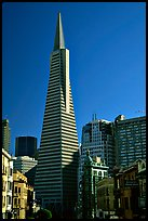 Transamerica Pyramid and Columbus Tower. San Francisco, California, USA (color)