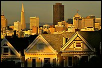 Victorians at Alamo Square and skyline, late afternoon. San Francisco, California, USA ( color)