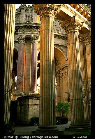 Columns of the Palace of Fine arts. San Francisco, California, USA (color)
