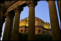 Rotunda seen through peristyle,  the Palace of Fine arts, dusk. San Francisco, California, USA