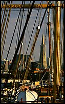 Transamerica Pyramid  seen through the masts of the Balclutha. San Francisco, California, USA (color)