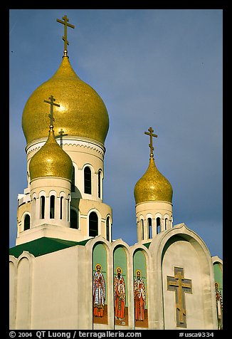 Bulbs of Russian Orthodox Holy Virgin Cathedral. San Francisco, California, USA (color)
