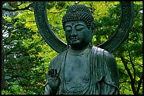 Buddha statue in the Japanese Garden, Golden Gate Park. San Francisco, California, USA (color)